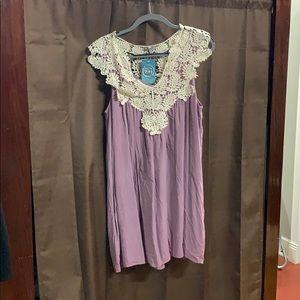 Purple and cream lace dress